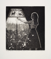 Kvinne slukker lys / Woman Turning Out Light