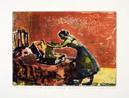 Kvinne pakker koffert / Woman Packing a Suitcase